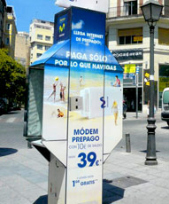 telephone booth advertising in sant celoni